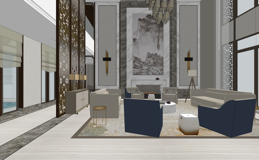 新中式别墅一层室内设计SU模型【ID:936341877】