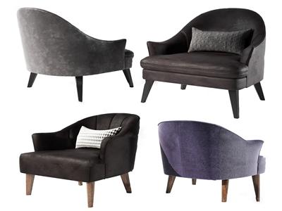 现代布艺单人沙发3D模型【ID:650469497】