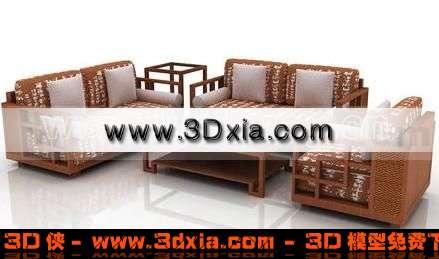 中式的组合沙发3D模型下载【ID:121】