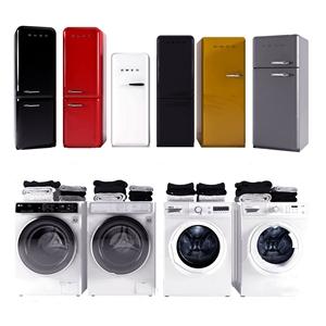 現代時尚冰箱洗衣機組合3D模型【ID:234673688】
