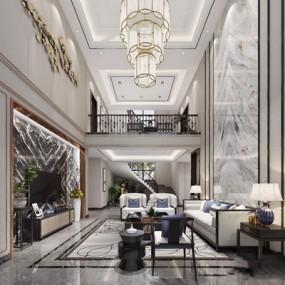 新中式别墅客厅3D模型【ID:728120724】