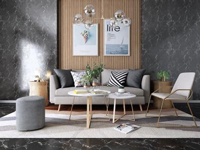 北歐沙發茶幾單椅組合3D模型【ID:920830739】