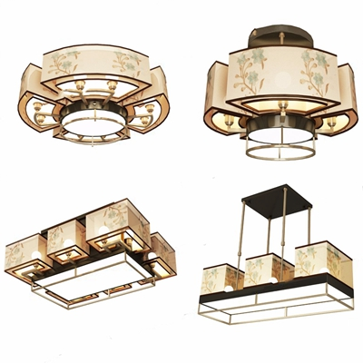 新中式吊燈吸頂燈組合3D模型【ID:628296012】