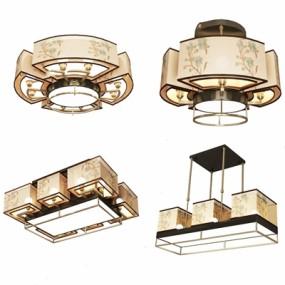 新中式吊灯吸顶灯组合3D模型【ID:628296012】