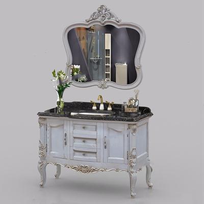 欧式雕花实木浴室柜3D模型【ID:128217754】