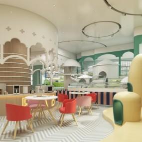 现代幼儿园儿童阅览活动区3D模型【ID:527801867】