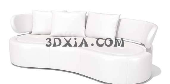白色多人沙发3D模型【ID:12994】