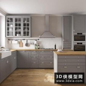北欧厨柜国外3D模型【ID:829313021】