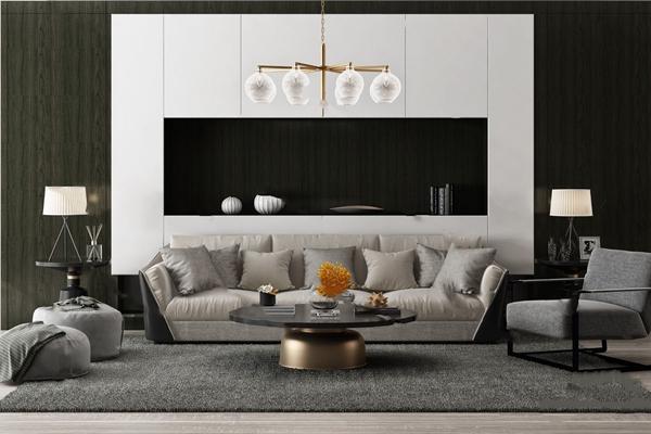 现代沙发茶几组合3D模型【ID:624892066】