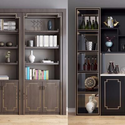 新中式实木装饰柜书籍摆件组合3D模型