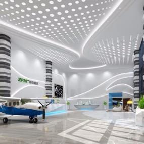 航空飞机展馆3D模型【ID:528008412】