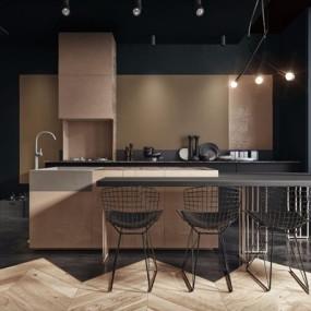 工业风开放式厨房3D模型【ID:528037092】