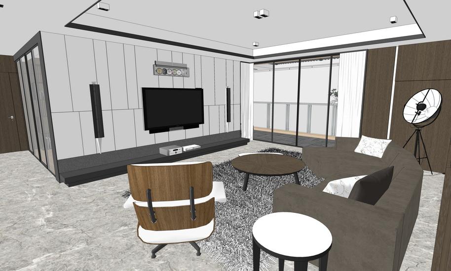 现代风格四房两厅室内设计SU模型【ID:436342833】