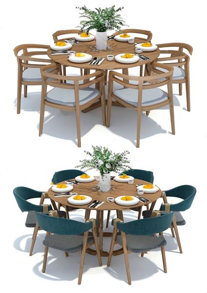 北歐圓形餐桌椅組合3D模型【ID:847686829】