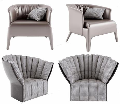 意大利单人沙发组合3D模型【ID:928338654】