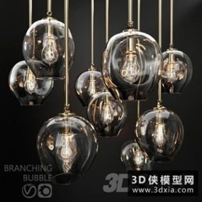 现代玻璃吊灯国外3D模型【ID:829325708】