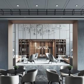 新中式酒店大堂吧3D模型【ID:528452170】