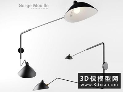 現代拉桿壁燈國外3D模型【ID:829464832】