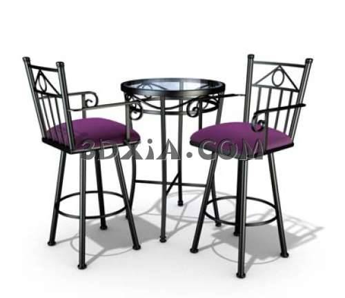 3D漂亮的桌椅组合模型3D模型【ID:13454】