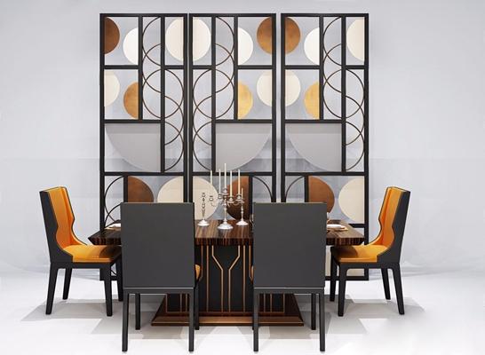 后现代餐桌椅3D模型【ID:327917670】