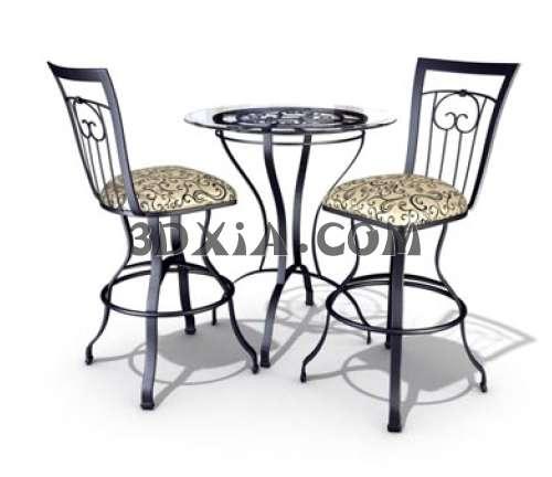 漂亮的桌椅组合3D模型下载【ID:13489】