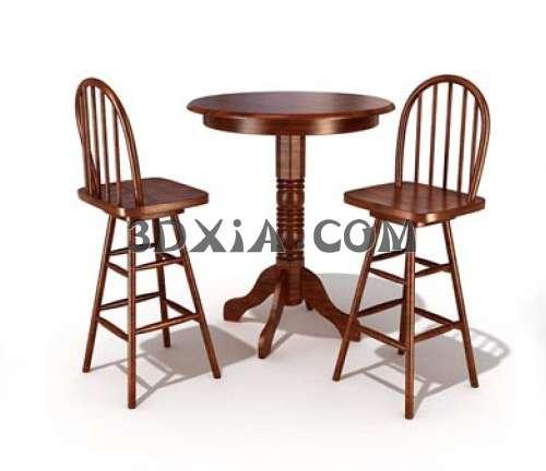 细腻的桌椅组合3D模型【ID:13495】