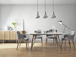 北歐實木餐桌椅吊燈邊柜落地燈擺件3D模型【ID:327786475】