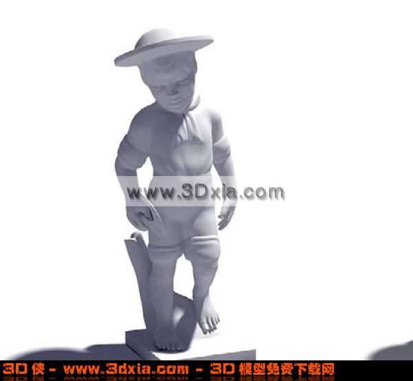 小巧可爱的人公仔雕塑3D模型【ID:1374】