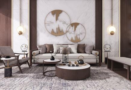新中式组合沙发 新中式组合沙发 多人沙发 沙发凳 茶几 休闲椅 角几 摆件 墙饰