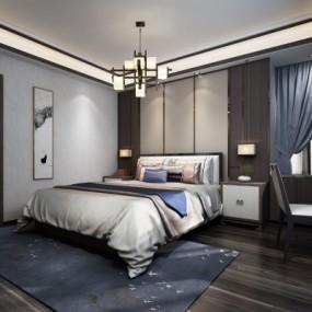 新中式卧室3D模型【ID:128413335】