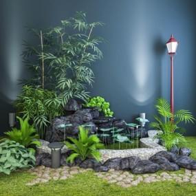 中式花园水池景观组合3D模型【ID:327896223】