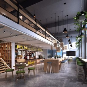 北欧咖啡厅奶茶店3D模型【ID:327928652】