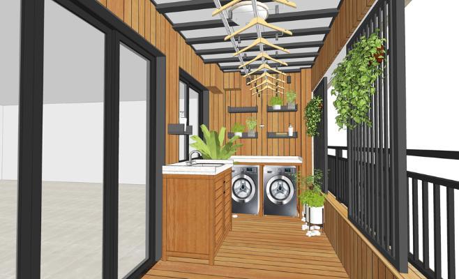 花园木阳台SU模型【ID:644991772】