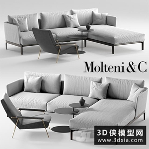 現代沙發組合國外3D模型【ID:729308655】
