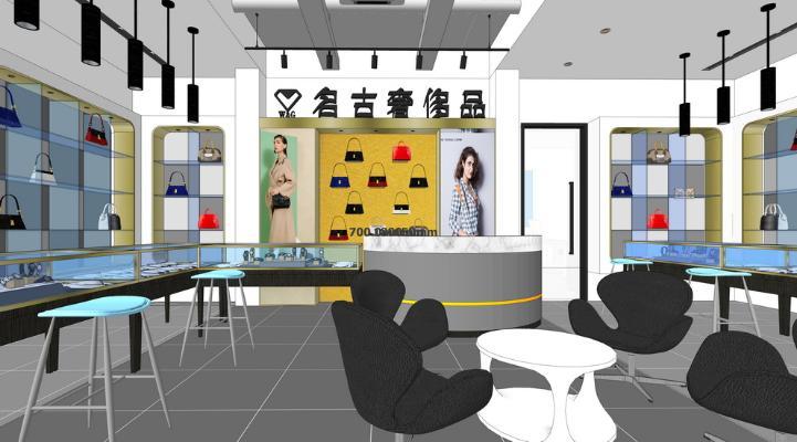 奢侈品店室内设计SU模型【ID:645468093】