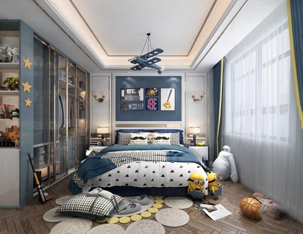 现代男孩房卧室3d模型
