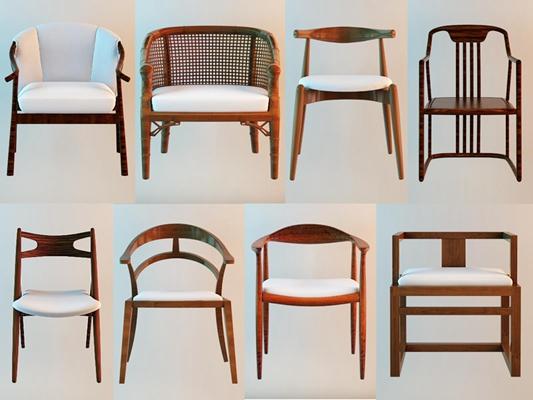 现代中式椅子组合3D模型【ID:227878425】