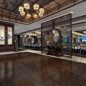 新中式酒店3D模型【ID:427963215】