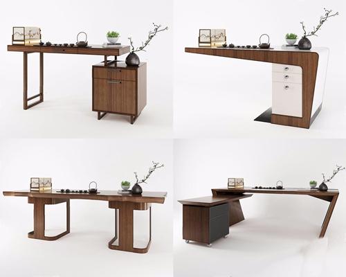 新中式办公桌书桌组合3D模型【ID:327928743】