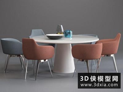 現代餐桌椅組合國外3D模型【ID:729463705】