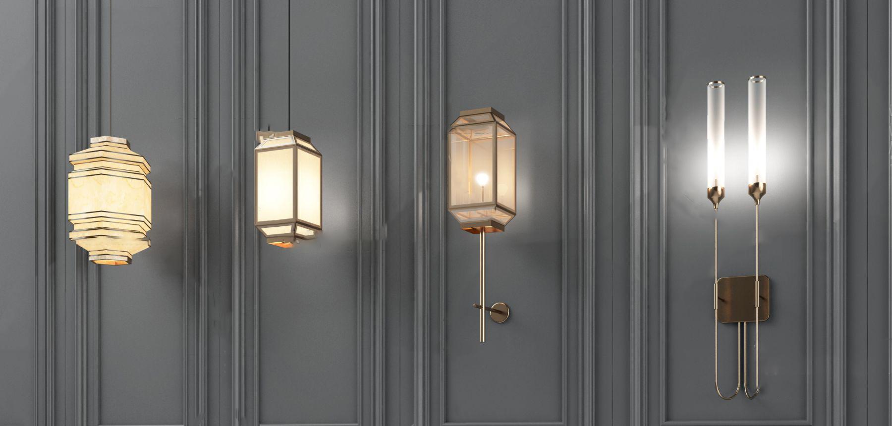 新中式金属吊灯3D模型【ID:742270840】