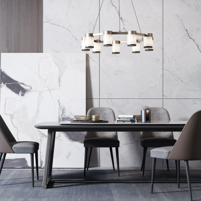 現代六人餐桌椅3D模型【ID:328440445】