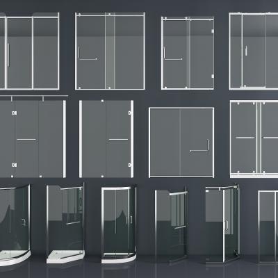 現代不銹鋼玻璃淋浴隔斷組合3D模型【ID:228423500】