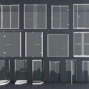 现代不锈钢玻璃淋浴隔断组合3D模型【ID:228423500】