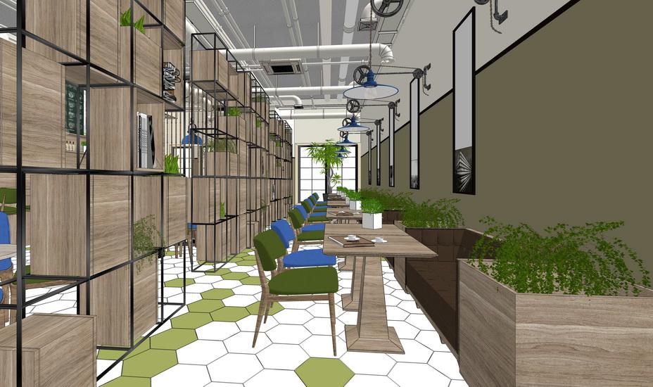 現代工業風咖啡廳西餐廳SU模型【ID:936343853】