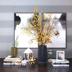 现代书籍花瓶花卉挂画组合3D模型【ID:928541112】