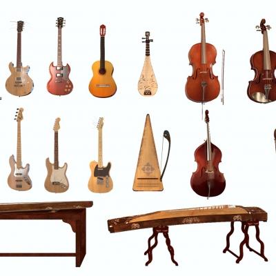 现代小提琴吉他古筝竖琴组合3D模型【ID:927835085】