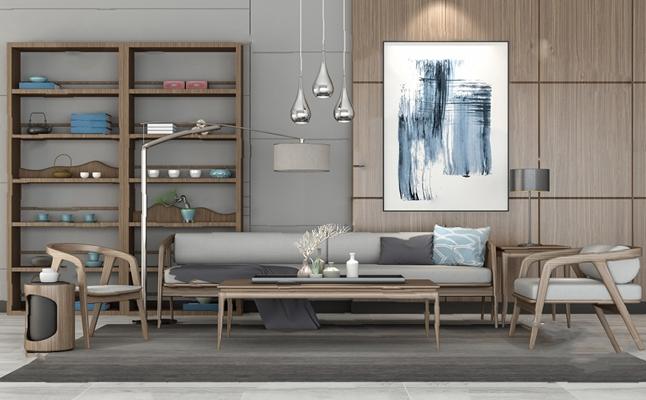 新中式沙发茶几组合3D模型【ID:626228029】