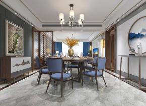 新中式客厅餐厅3D模型【ID:927820595】