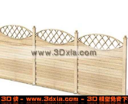 精美的花边木质围栏3D模型【ID:1502】